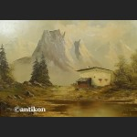 Obraz olejny alpejski pejzaż schronisko u podnóża gór