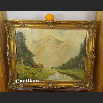 Obraz olejny stary pejzaż górski