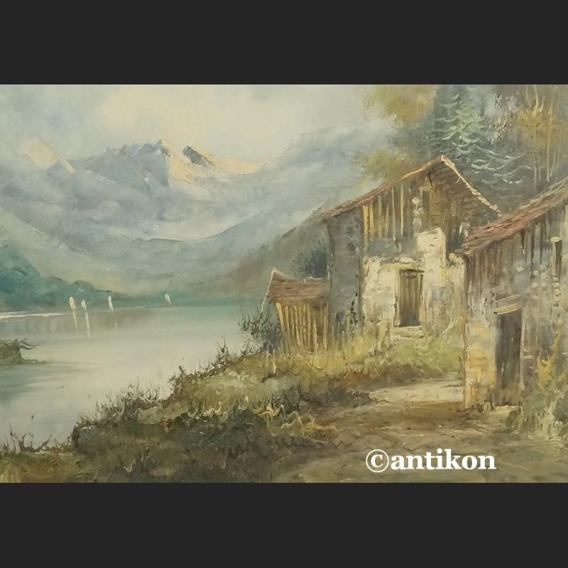 Bardzo dobra Olej na płótnie włoski pejzaż górski - Galeria Antikon JX89