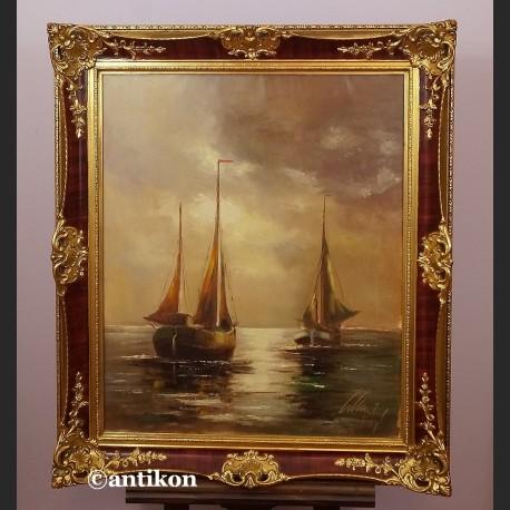 Stary obraz olej marynistyka w złotej ramie
