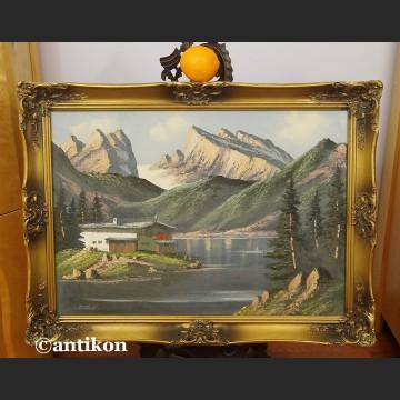 Obraz olejny górski pejzaż z chatą
