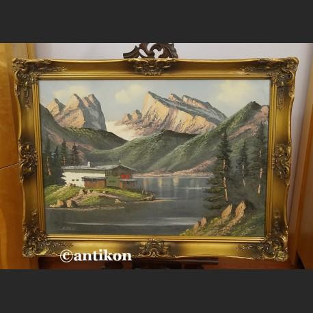 Pejzaż górski obraz olejny z chatą