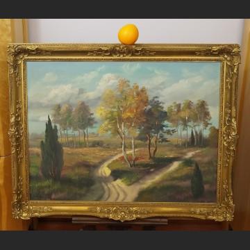 Obraz olejny do salonu impresja z brzozami