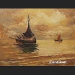 Stary obraz morze impresja o zachodzie słońca