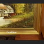Malarstwo aukcyjne stary obraz młyn wodny