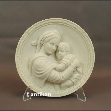 Relief alabastrowy z Włoch Madonna z dzieciątkiem