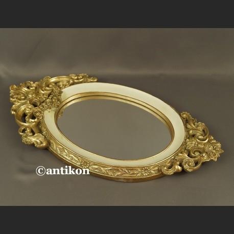 Lustro w biało złotej ramie w stylu francuskim