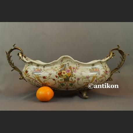 Patera porcelanowa wielka na prezent ślubny porcelana z brązem