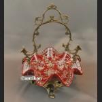 Koszyk czerwony porcelanowy na łakocie patera