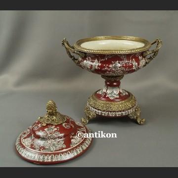 Waza wysoka patera czerwona barokowy styl