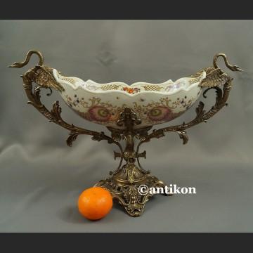 Patera barokowa porcelana z łabędziami