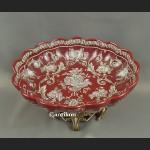 Patera barokowa czerwona z figurami aniołów