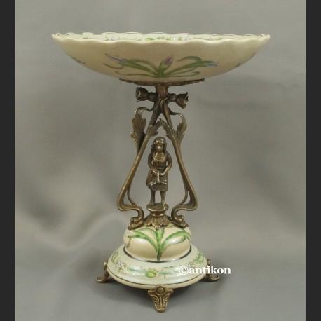 Secesyjna patera z irysami porcelna z brązem