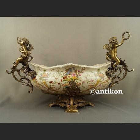 Żardiniera porcelanowa Patera ogromna z brązem na prezent ślubny