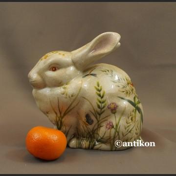 Zajączek wielkanocny z porcelany króliczek w kwiaty