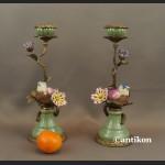 Para świeczników z ptaszkami porcelana z brązem