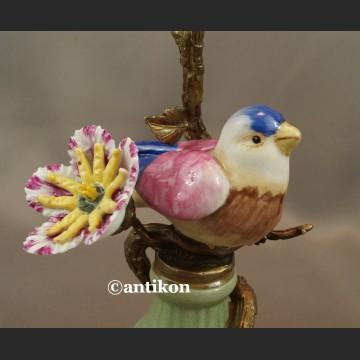 Para świeczników z ptaszkami porcelana z brązem cudowne