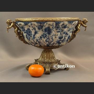 Patera porcelanowa wzór kobaltowy porcelana z brązem