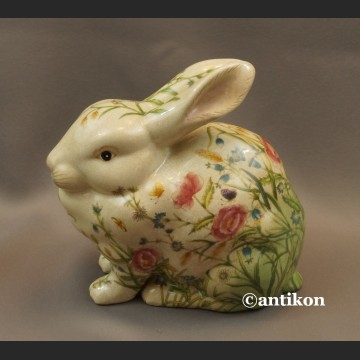 Zajączek porcelanowy wielkanocny króliczek w kwiaty