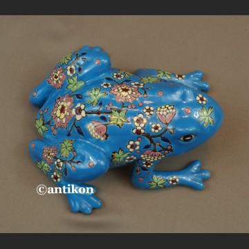 Żaba na szczęśćie porcelanowa niebieska