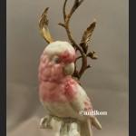 Świeczniki z papugami para porcelanowe ogromne Pod papugami