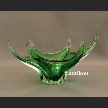 Patera szklana zielona rozgwiazda artystyczne szkło