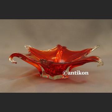Patera szklana czerwona rozgwiazda artystyczne szkło