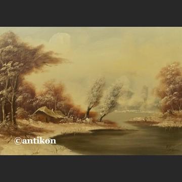 Obraz olejny Zima zimowy pejzaż z chatą