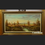 Malarstwo aukcyjne wspaniały pejzaż z mostkiem