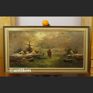 Obraz olejny impresja z wiatrakiem holender