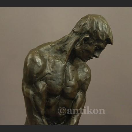Rzeźba z brązu Adam piękny duży posąg A. Rodin