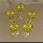 Kieliszki Val Saint Lambert art deco kryształowe duże zielone