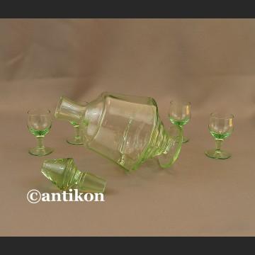 Zielone szkło Art deco zestaw do nalewek karafka i kieliszki