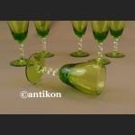 Kieliszki secesyjne zielone zestaw do likieru