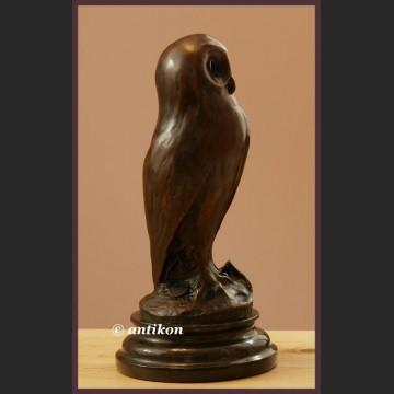 Sowa Art Deco śliczny brąz francuska rzeźba