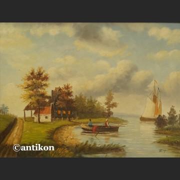 Obraz holender pejzaż z łodziami