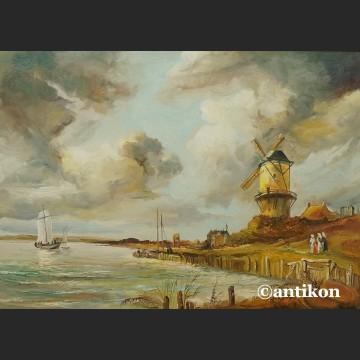 Obraz olejny z wiatrakiem rama kossakówka