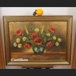 Obraz kwiaty Maki w prostej drewnianej ramie