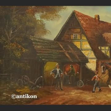 Pejzaż wiejski obraz olejny sielanka na wsi