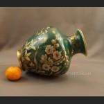 Rosenthal wazon ręcznie malowany zielono złoty