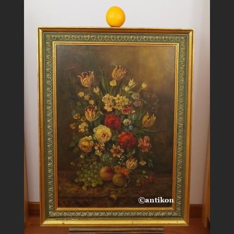 Chłodny Obraz kwiaty piękne malarstwo martwa natura - Galeria Antikon KK03