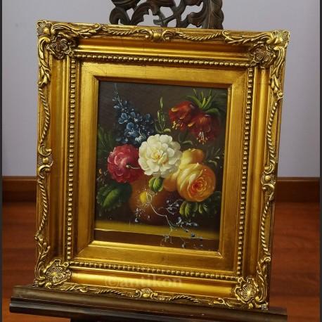 Kwiaty obraz w złotej ramie
