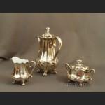 Wmf dzbanek, cukiernica i mlecznik posrebrzny zestaw do kawy