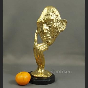 Myśliciel maska modernistyczna rzeźba złocony unikat