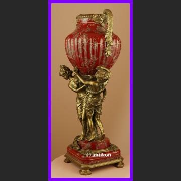 Królewska barokowa waza z figurami kobiet brąz