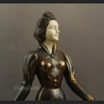 Art deco stara rzeźba dama z chartami ogromna