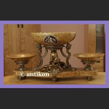 Porcelanowa patera środka stołu gigantyczna porcelana z brązem