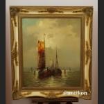 Stary obraz morze aukcyjny w stylowej ramie