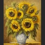 Słoneczniki w wazonie obraz olejny na płótnie