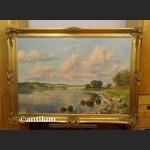 Obraz aukcyjny brzeg jeziora w stylowej ramie